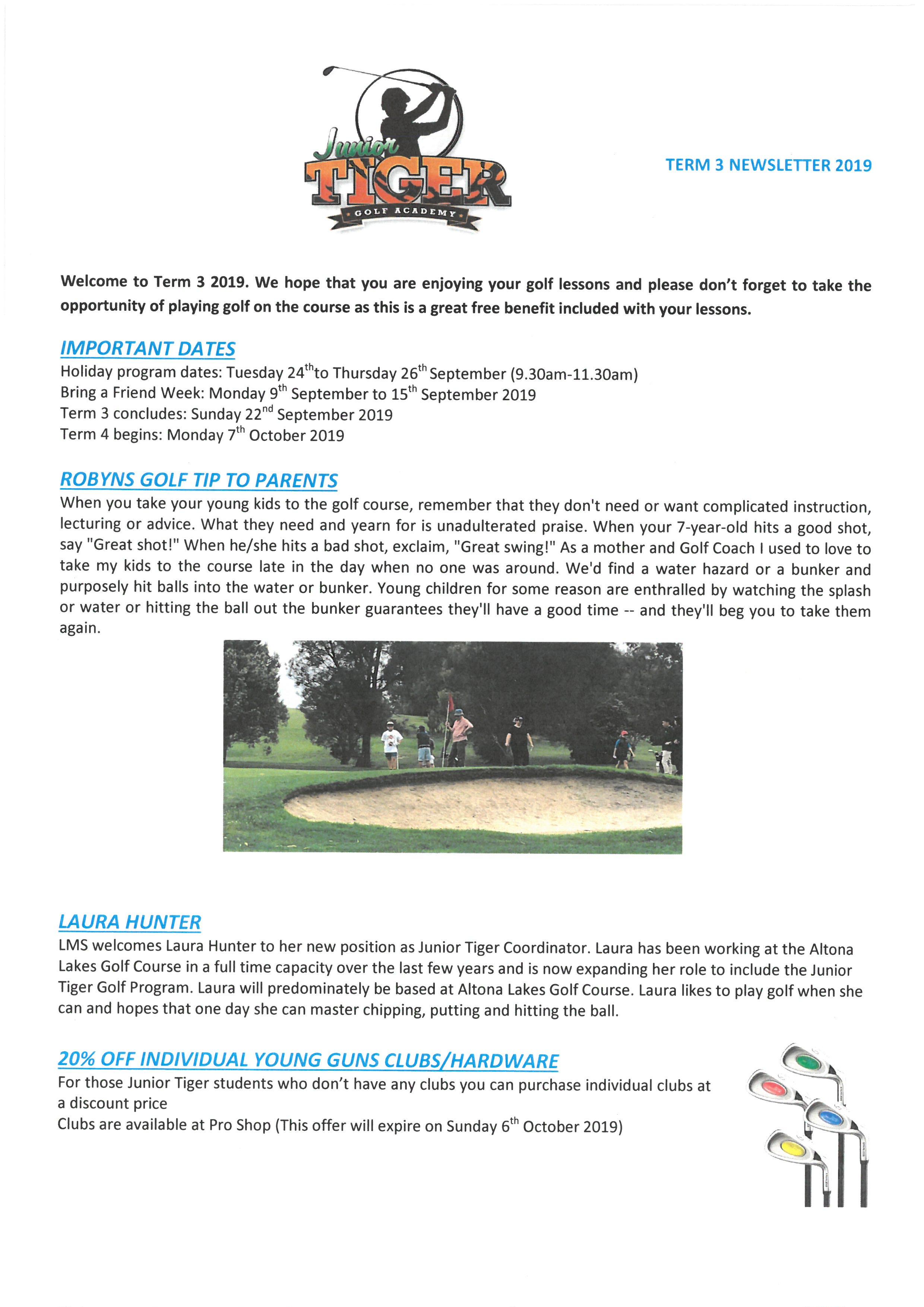 Ivanhoe Golf Course – Junior Tiger Newsletter Term 3 2019